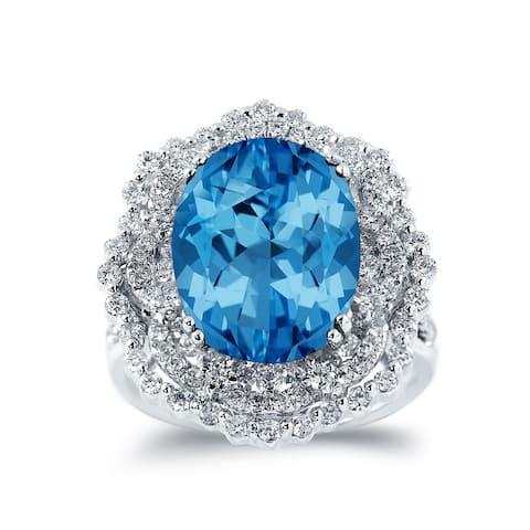 Auriya Unique 8 7/8ct Oval Blue Topaz Halo Diamond Ring 1 1/3ctw 18K Gold