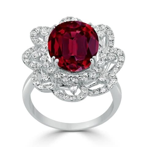 Auriya 9 1/4ct Oval-cut Red Ruby Halo Diamond Ring 1 1/5ctw 18K Gold
