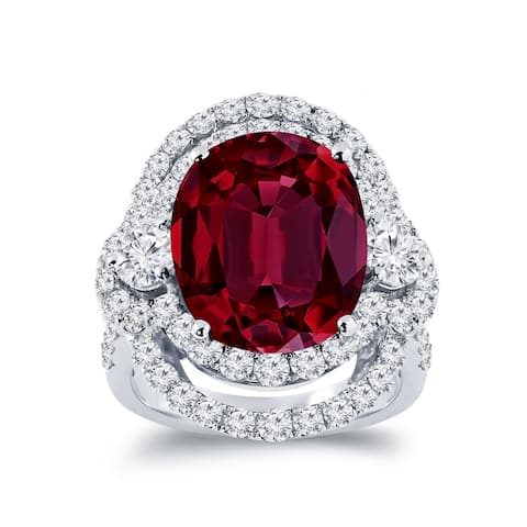 Auriya Unique 10 1/2ct Oval Red Ruby Halo Diamond Engagement Ring 3ctw 18K Gold