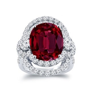 Auriya Unique 10 1 2ct Oval Red Ruby Halo Diamond Engagement Ring 3ctw 18K Gold