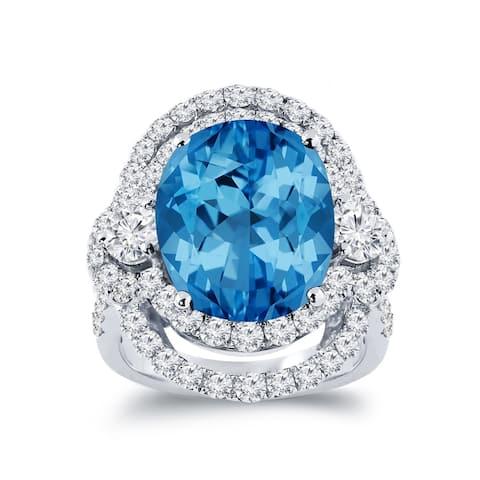 Auriya Unique 8 7/8ct Oval Blue Topaz Halo Diamond Engagement Ring 3ctw 18K Gold