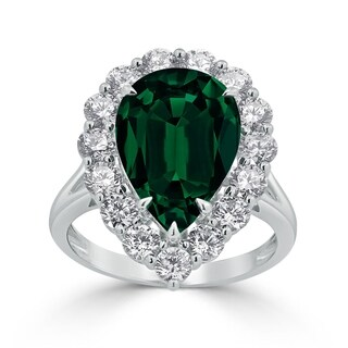Auriya 1 3 4ct Pear Cut Green Emerald Halo Diamond Engagement Ring 1 3 4cttw 18K Gold