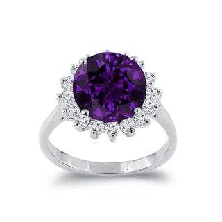 Auriya 3 3 8ct Round Purple Amethyst Sunburst Halo Diamond Ring 5 8ctw 18K Gold