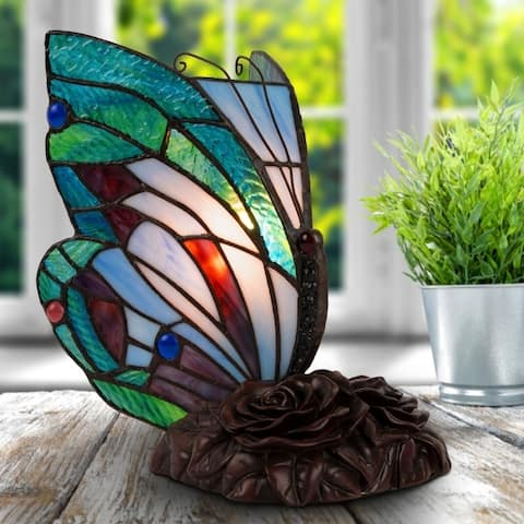Tiffany Style Butterfly Lamp- Vintage Stained Glass LED Desk Light by Lavish Home