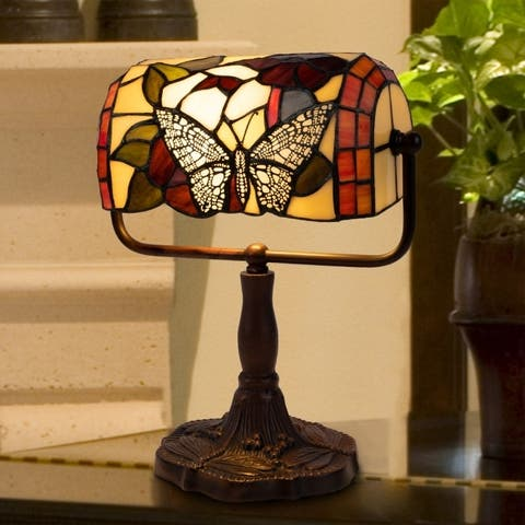 Tiffany Style Bankers Lamp-Vintage Stained Glass Butterfly LED Desk Light by Lavish Home