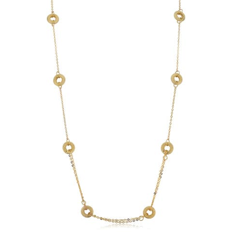 14k Yellow Gold Textured Circles Station Necklace (18.5 inches)