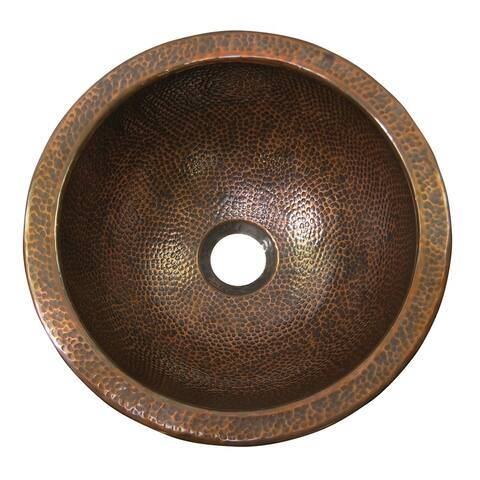 Hammered Copper Round Undermount Lavatory Sink by The Copper Factory
