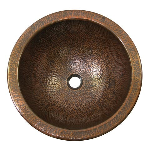 Hammered Copper Large Undermount Lavatory Sink, The Copper Factory