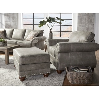 Link to Leinster Faux Leather Upholstered Nailhead Chair and Ottoman in Stone Gray Similar Items in Arm Chairs