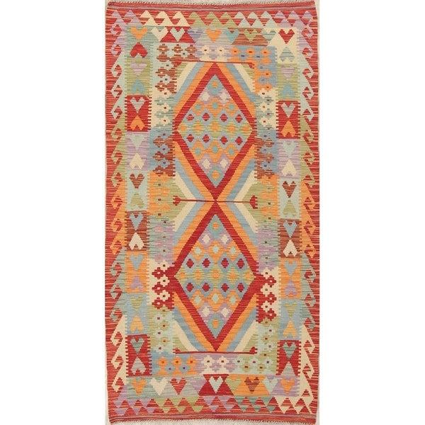 "Turkish Kilim Hand-Woven Diamond Oriental Modern Wool Runner Rug - 6'7"" x 3'4"" Runner"