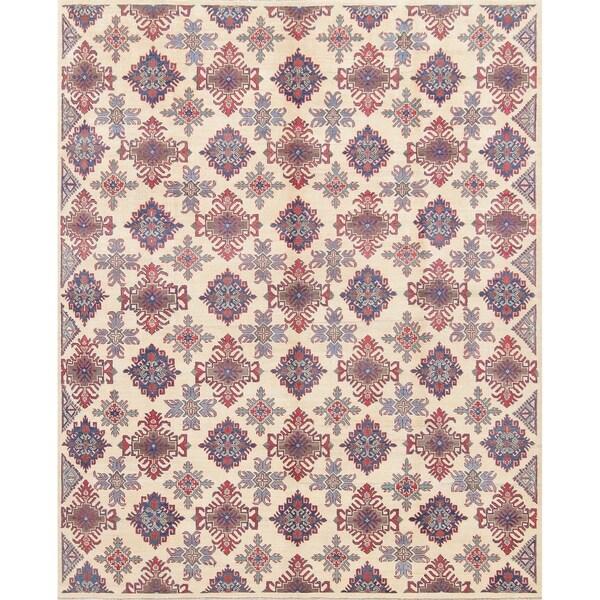 "Kazak Pakistani Hand-Knotted Wool Traditional Oriental Area Rug - 9'11"" x 8'1"""