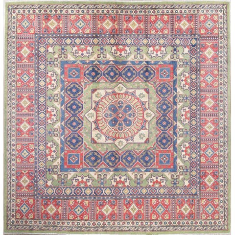 "Traditional Kazak Oriental Hand-Knotted Wool Pakistani Square Area Rug - 10'0"" x 9'9"" Square"