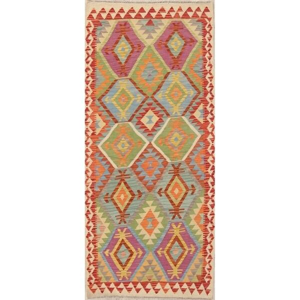 "Southwestern Kilim Persian Wool Hand Woven Oriental Runner Rug - 6'8"" x 3'4"" Runner"