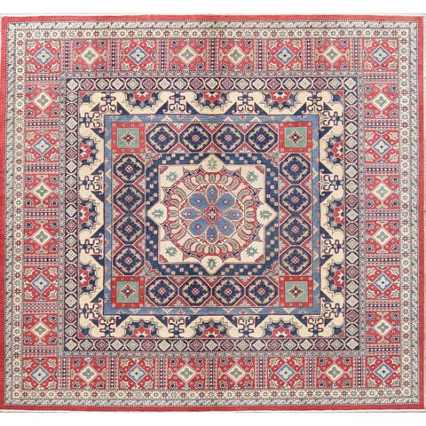 "Oriental Kazak Hand-Knotted Wool Traditional Pakistani Square Area Rug - 9'8"" x 9'11"" Square"