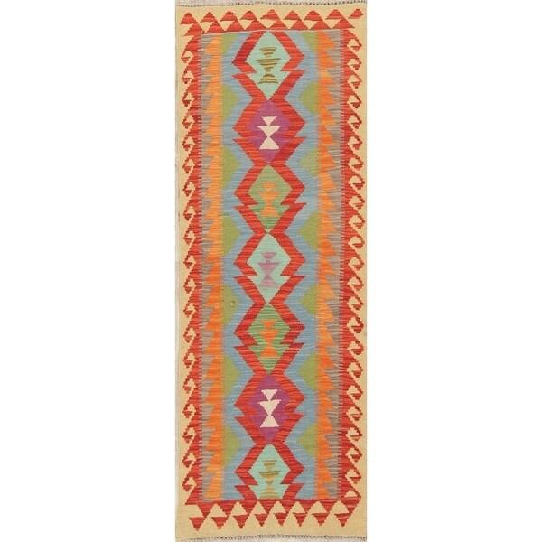 "Southwestern Oriental Kilim Hand-Woven Wool Persian Runner Rug - 6'6"" x 2'3"" Runner"