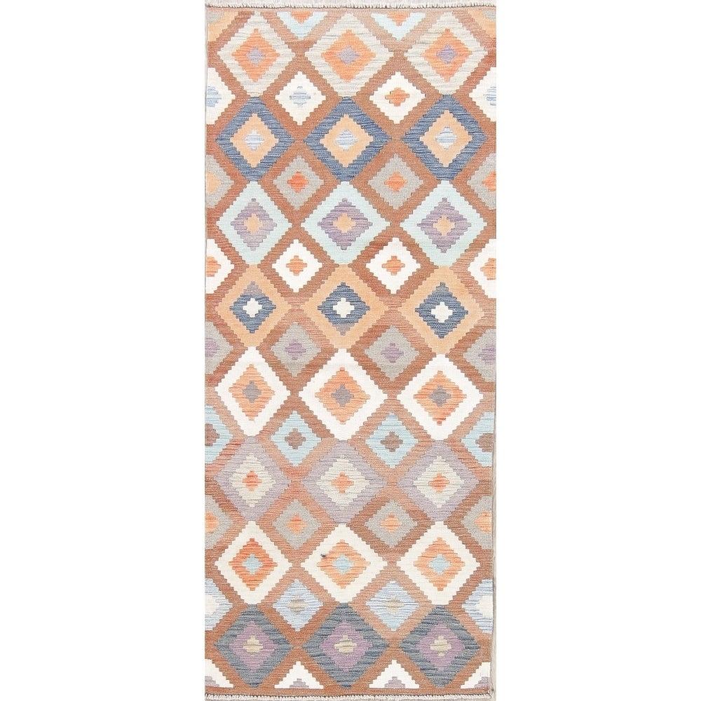 "Oriental Kilim Shiraz Hand Woven Diamond Persian Wool Runner Rug - 6'6"" x 2'8"" Runner"