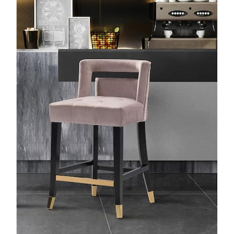 Silver Orchid Beavers Velvet Armless Low Back Counter Stool Chair