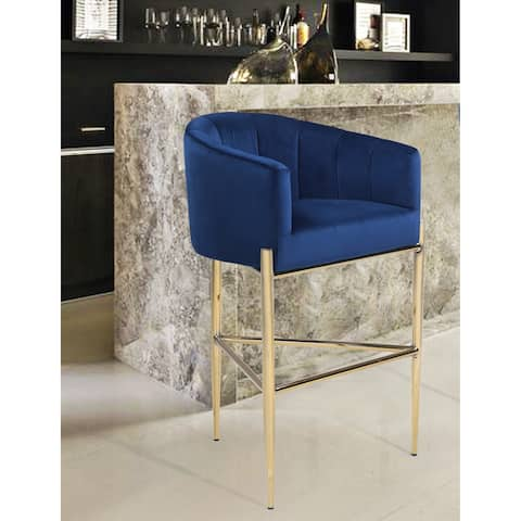 Chic Home Ivah Chair Velvet Upholstered Shelter Arm Bar Stool