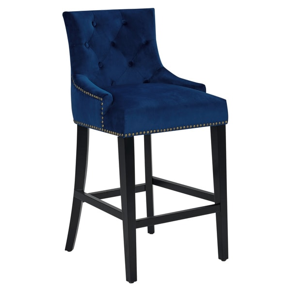 Gracewood Hollow Anandghan Button Tufted Velvet Upholstered Counter Stool   Navy by Gracewood Hollow