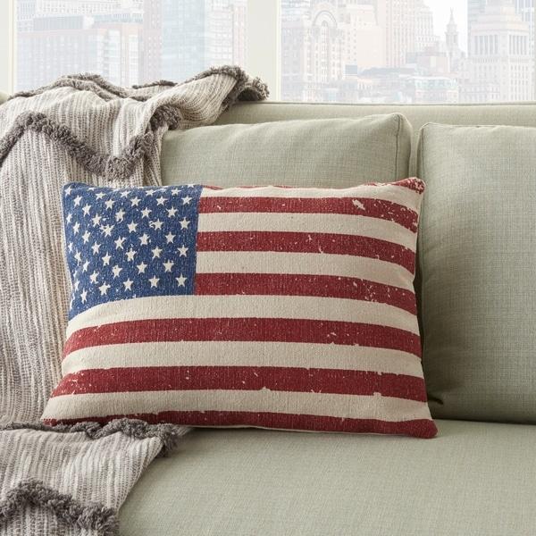 Mina Victory American Flag Print Throw Pillow