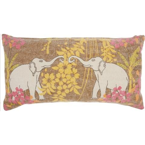 "Mina Victory Lucky Elephants Throw Pillow 16"" x 32"""