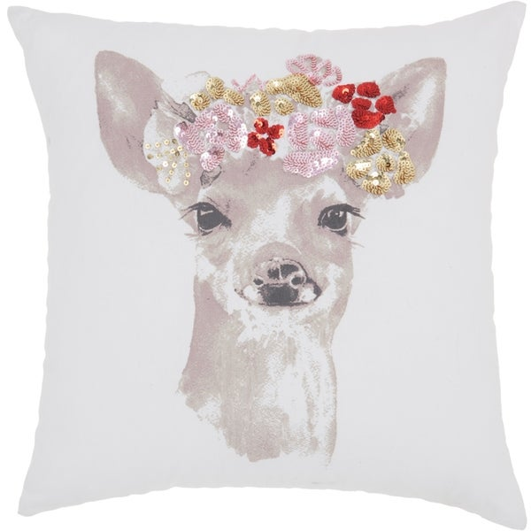 Porch & Den Pete Floral Fawn 18-inch Throw Pillow