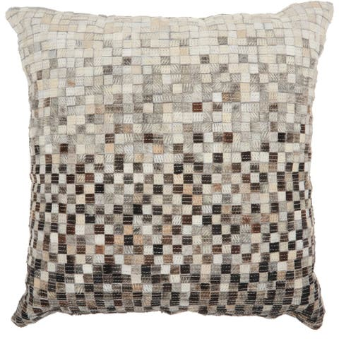 Carbon Loft Ombre Geo Hair on Hide Throw Pillow