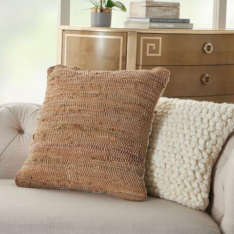 Carbon Loft Woven Leather Throw Pillow