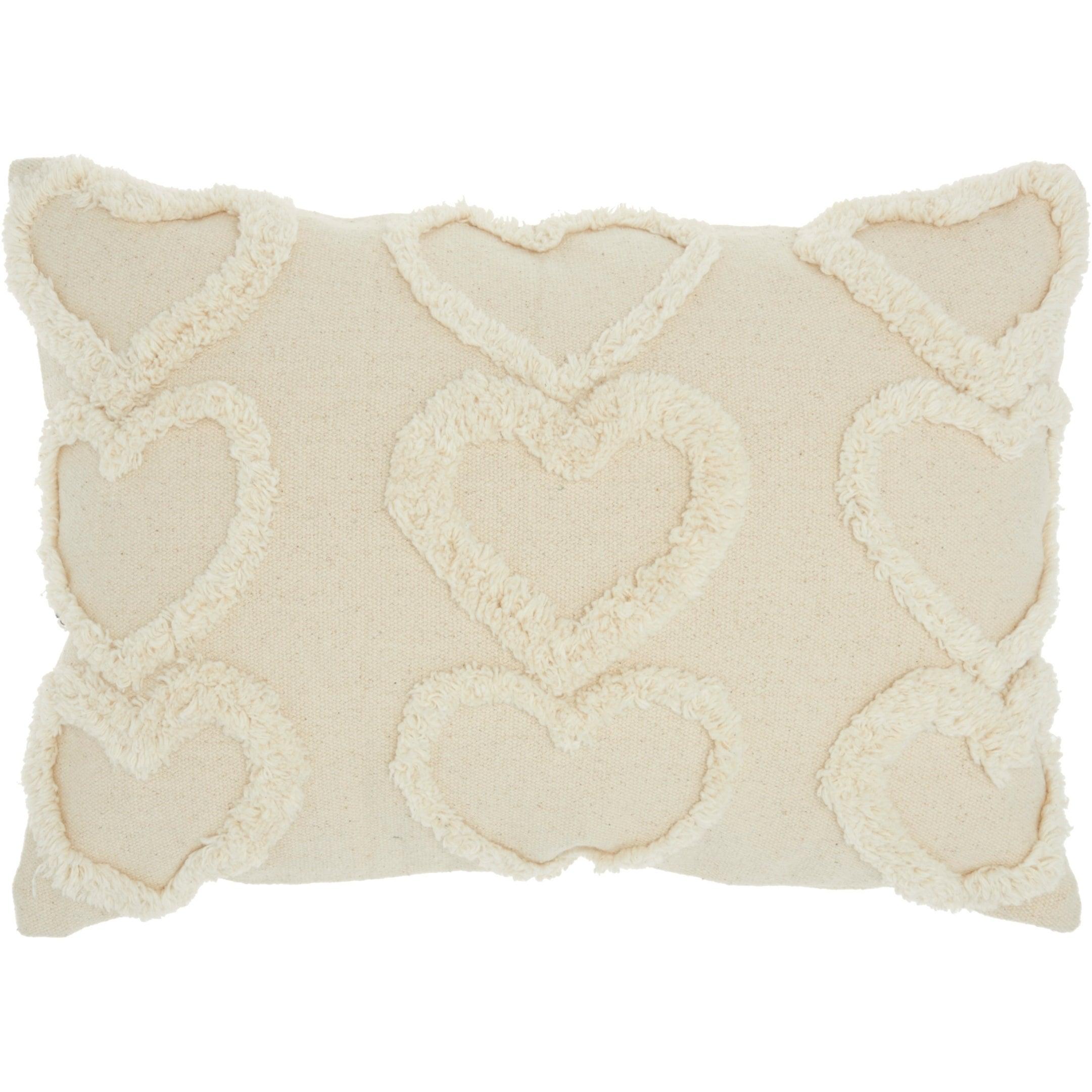 Mina Victory Raised Hearts Throw Pillow 14 X 20 On Sale Overstock 28287778 14 X 20 Khaki