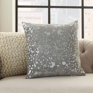 "Silver Orchid Negri Metallic Splash Luminescence Throw Pillow 18"" x 18"""