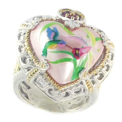 Michael Valitutti Palladium Silver Pink Flower, Humming Bird Painted Pink Mabe Pearl & Ruby Ring