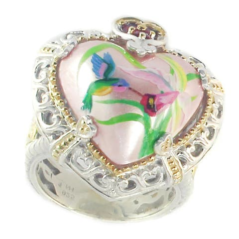 Gems en Vogue Palladium Silver Pink Flower, Humming Bird Painted Pink Mabe Pearl & Ruby Ring