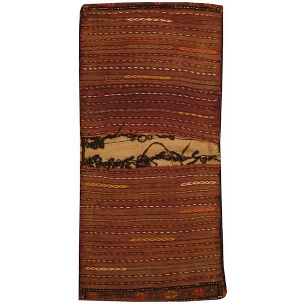 Handmade One-of-a-Kind Wool Jhallar (Afghanistan) - 2'1 x 6'1