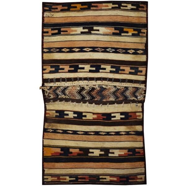 Handmade One-of-a-Kind Soumak Wool Saddle Bag (Afghanistan) - 1'9 x 3'