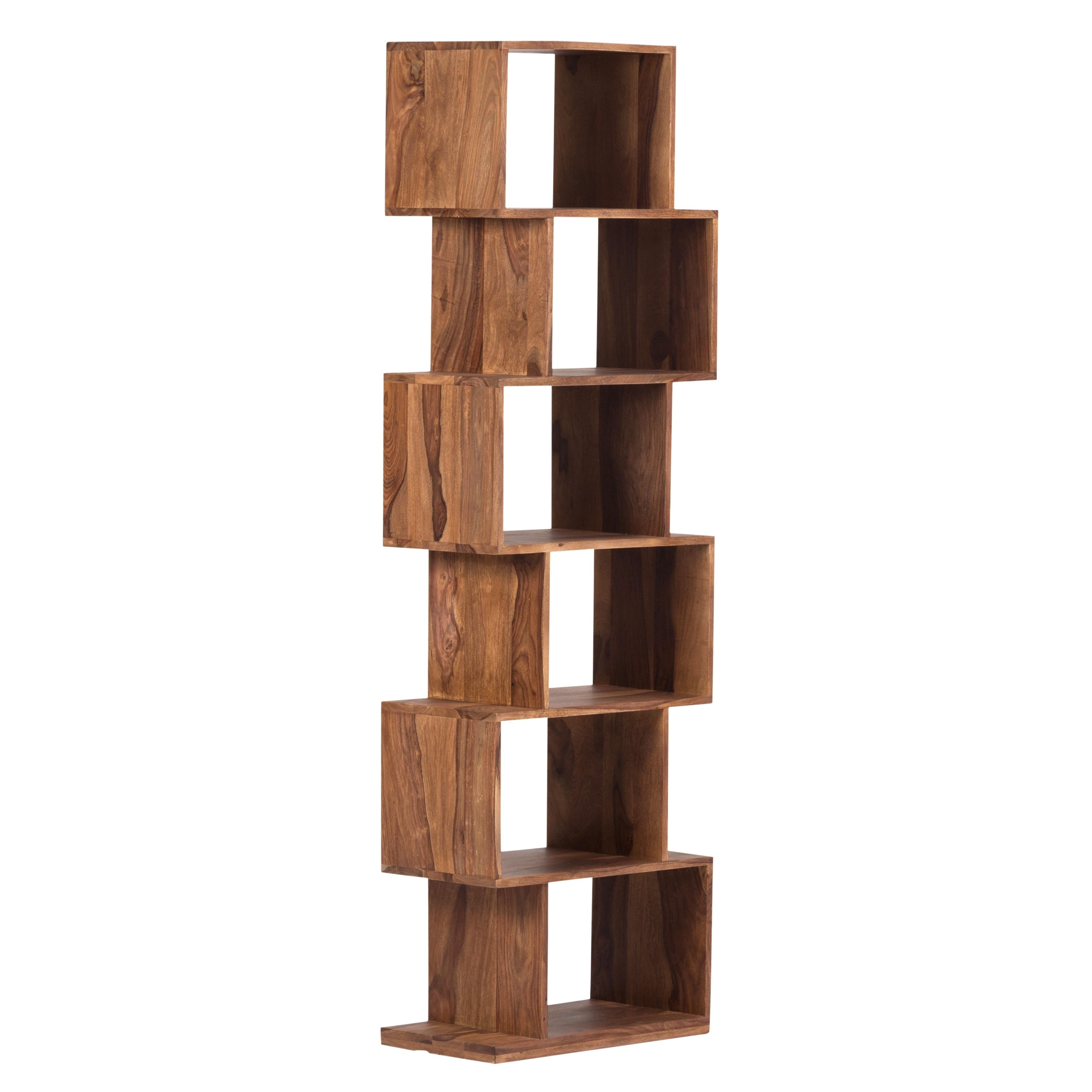 Urban Mid Century Modern Sheesham Wood Bookshelf 6 Shelves