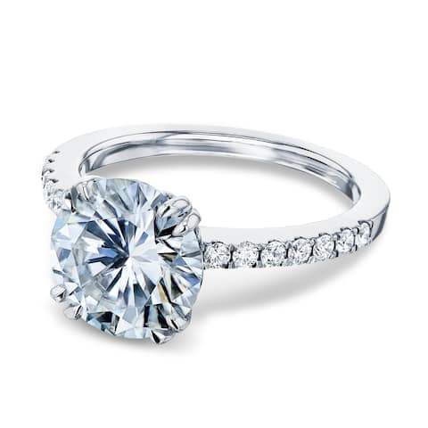 Annello by Kobelli 14k Gold 3.1ct Round Forever One Moissanite and 1/4ct.tw Natural Diamond Engagement Ring (DEF/VS, GH/I)