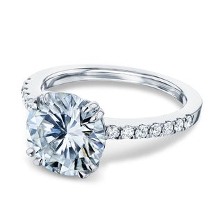 Annello By Kobelli 14k Gold 3 1ct Round Forever One Moissanite And 1 4ct Tw Natural Diamond Engagement Ring DEF VS GH I