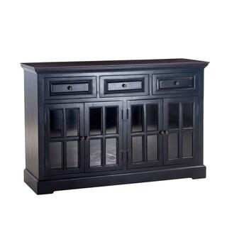 Aureille 62-Inch Black Rubbed Sideboard with Dark Walnut Top
