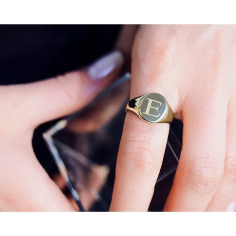 Annello by Kobelli 14k Yellow Gold Personalized Initials Oval Signet Ring - Times