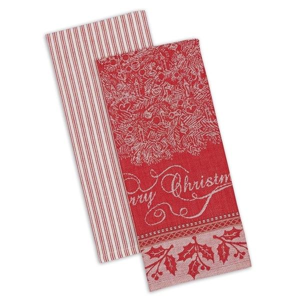 DII Assorted Holiday Embellished Dishtowel Set