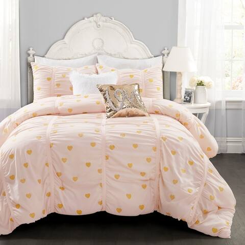 Lush Decor Distressed Metallic Heart Print Comforter Set