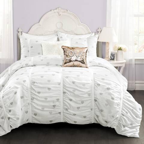 Lush Decor Distressed Metallic Heart Print Comforter Set
