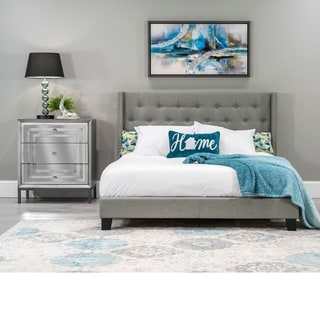 Home Source Alfreda Grey Upholstered Full-size Bed