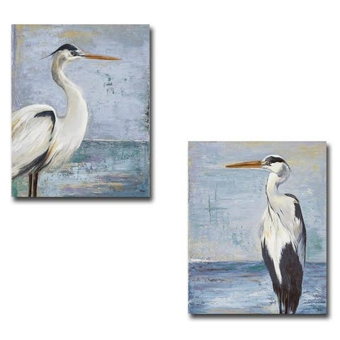 Blue Heron on Blue I & II by Patricia Pinto 2-pc Gallery Wrapped Canvas Giclee Art Set (24 in x 18 in Each Canvas in Set)