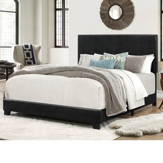Home Source Lypham Black Faux Leather Queen-size Bed