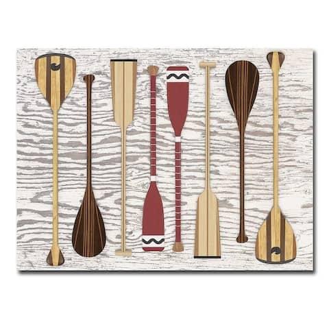 Canoe, Paddles and Oar by Edward M. Fielding Gallery Wrapped Canvas Giclee Art (24 in x 32 in)