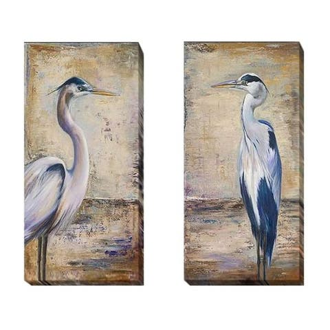 Blue Heron I & II by Patricia Pinto 2-pc Gallery Wrapped Canvas Giclee Set (16 in x 8 in Each Canvas in Set)