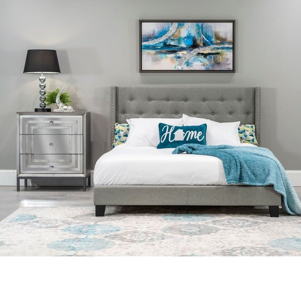 Home Source Alfreda Grey Upholstered Twin-size Bed