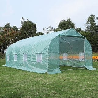 Outsunny 20' x 10' x 7' Deluxe High Tunnel Walk-In Garden Greenhouse Kit with Plastic Cover & Roll-up Entrance - Green