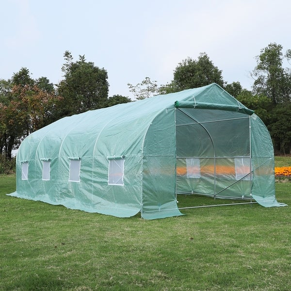 Outsunny 20' x 10' x 7' Deluxe High Tunnel Walk-In Garden Greenhouse Kit with Plastic Cover & Roll-up Entrance - Green. Opens flyout.